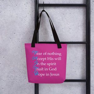 "Message of ""F.A.I.T.H"" Tote bag (Pink) - ToriLorain Apparel Christian Women Apparel Religious Clothing"