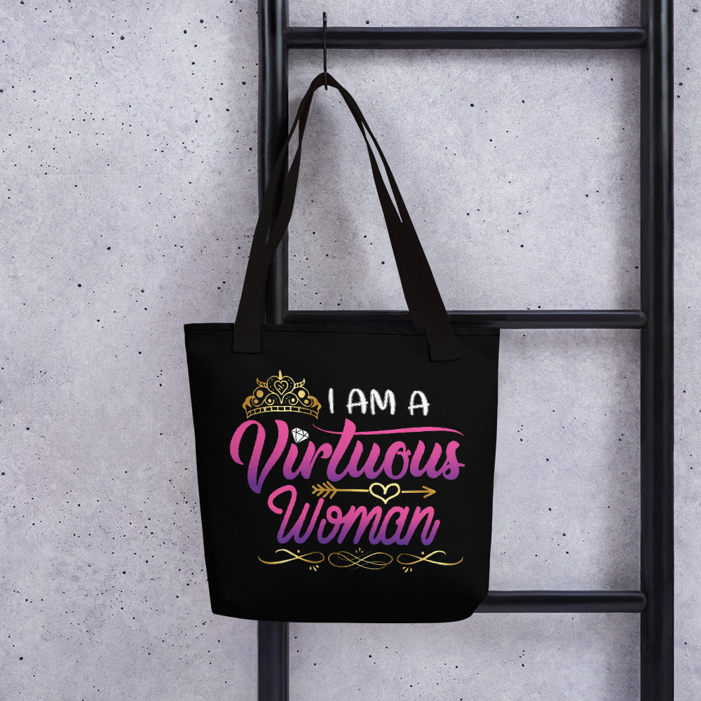 I am a Virtuous Woman Tote bag - ToriLorain Apparel Christian Women Apparel Religious Clothing