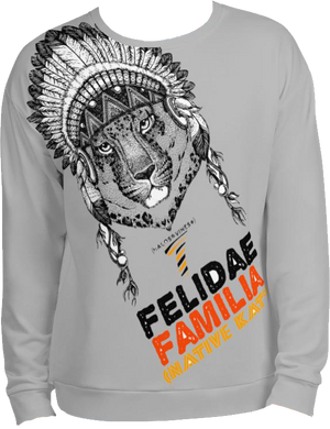 Felidae Familia - Native Kat* (Lt.Grey) Sweatshirt
