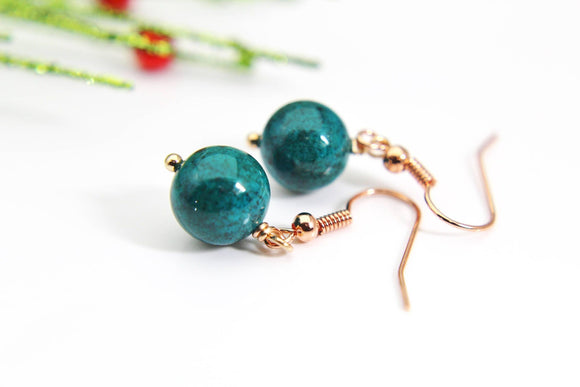 Teal Earrings Natural Dyed Fossil Earrings Dyed Natural Fossil Earrings Dyed Faceted Gemstone Jewelry Rose Gold Christmas Gift
