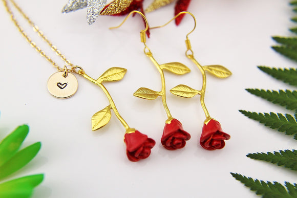 Valentines Day Gift Red Rose Gold Rose Necklace Gold Rose Charm Ross Earrings Gold Rose Jewelry Personalized Necklace