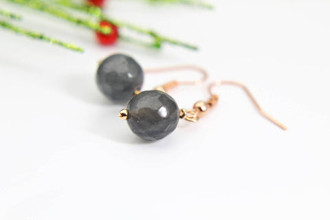 Natural Jade Earrings Gray Jade Earrings Light Brown Rustic Vintage Look Natural Jade Dyed Faceted Gemstone Jewelry Rose Gold Christmas Gift