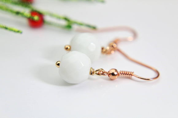 White Jade Earrings Natural Dyed Jade Earrings Dyed Natural Jade Earrings Dyed Faceted Gemstone Jewelry Rose Gold Christmas Gift