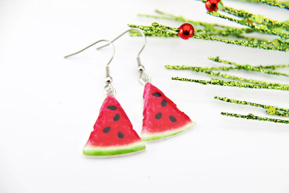 Foodie Gift Watermelon Earrings Christmas Watermelon Earrings Silver Watermelon Charm Earrings Fruit Jewelry Dangle Earrings Christmas Gift