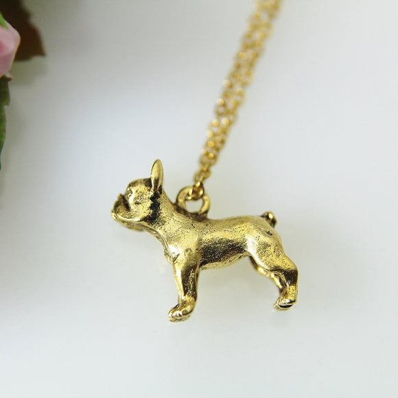 Bull Dog Necklace, Gold French Bull Dog Charm, French Bulldog Charm Necklace, Dog Charm, Animal Charm, Pet Gift, Christmas Gift, N407