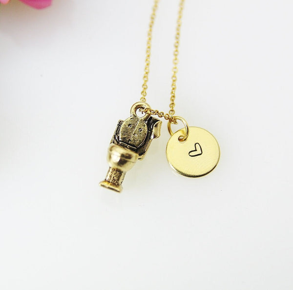 Toilet Necklace, Gold Toilet Charm Necklace, Toilet Seat Charm, Plumber Charm Necklace, Plumber Gift, Personalized Gift, Christmas Gift N467
