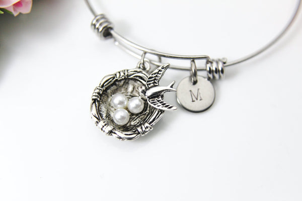 Bird Nest Bracelet, Bird Nest Charm Bangle, Bird Nest Charm, Mother Gift, Bird Charm, Nest Charm, Christmas Gift, Personalized Initial, B277