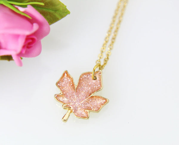 Maple Leaf Necklace, Gold Maple Leaf Charm Necklace, Maple Leaf Charm, Leaf Charm, Fall Jewelry, Autumn Jewelry Gift, Christmas Gift, N396