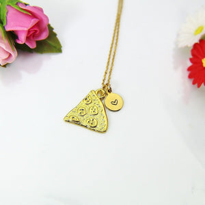 Pizza Necklace, Gold Pizza Charm Necklace, Pizza Slice Charm, Pizza Pie Charm, Food Charm, Foodie Gift, Personalized Christmas Gift, N849