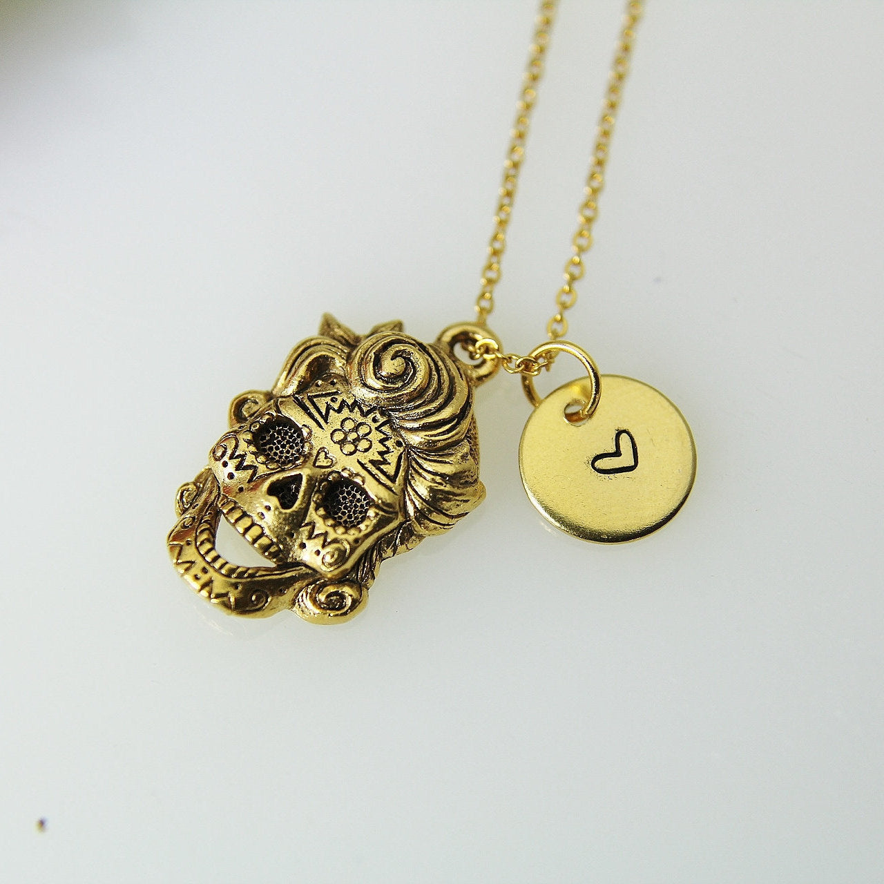Skull Necklace, Gold Skull With Curly Hair Charm, Sugar Skull Charm, Skull Charm, Halloween Gift, Halloween Jewelry Personalized Gift N431