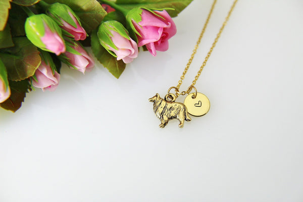 Gold Collie Charm Necklace, Gold Collie Charm, Collie Dog Charm Necklace, Dog Charm, Pet Gift, Personalized Gift, Christmas Gift, N507