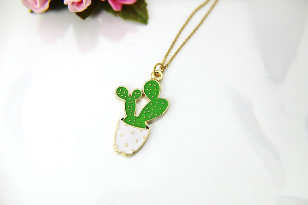 Gold Cactus Charm Necklace, Gold Cactus Charm, Green Cactus Pot Charm, Flower Charm, Cactus Jewelry, Personalized Gift, Christmas Gift, N603