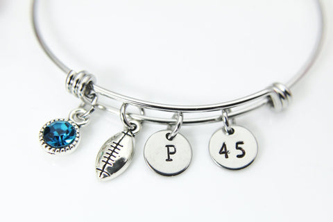 Silver Football Charm Bracelet, Football Sport Charm, Football Player Gift, Football Fan Gift, Football Mom Gift, Personalized Gift, N698