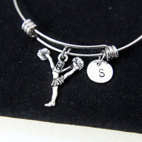 Silver Cheer Cheerleading Charm Bracelet, Cheerleader Charm, Personalized Customized Jewelry Gift, N922