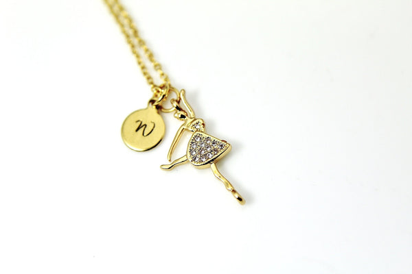 Ballerina Necklace, Ballet Necklace, Ballet Dance Charm, Gold Necklace, Fantasy Gift, Dainty, Personalized Gift Girl Gift, N1038