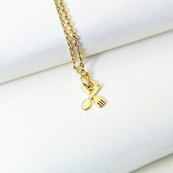 Spoon Fork Necklace, TINY Gold Fork and Spoon Necklace, Dainty Necklace, Delicate Minimal Necklace, Mothers Day Gift, Sister Gift, G051