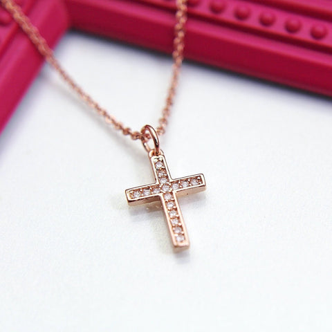 Cross Necklace, Rose Gold Cross Charm, Latin Cross Charm, Protective Gift, Dainty Necklace, Rose Gold Necklace, Personalized Gift,RG001