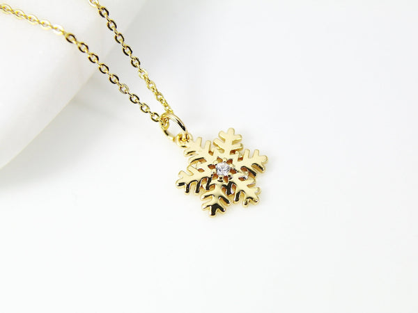 Gold Snowflake Necklace, Gold Snowflake Charm, CZ Diamond Jewelry, Dainty Necklace, Christmas Gift, G186