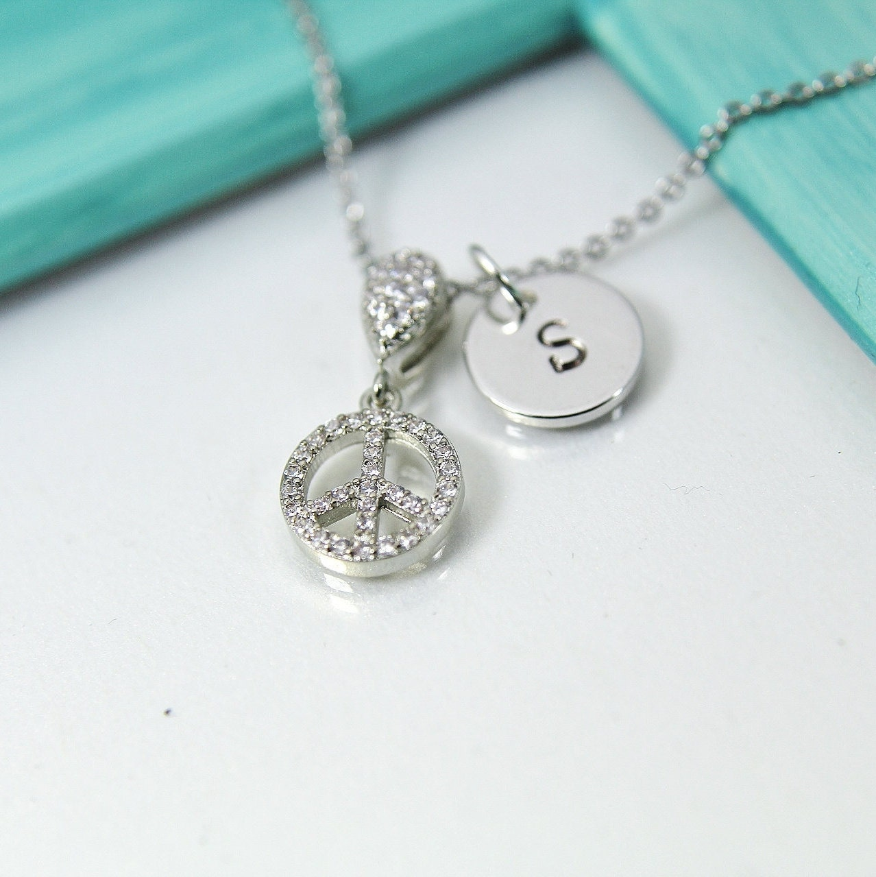 Silver Peace Necklace, Peace Sign Charm, Peace Gift, Dainty Necklace, Delicate Jewelry, Minimal Necklace, Personalized Gift, S038