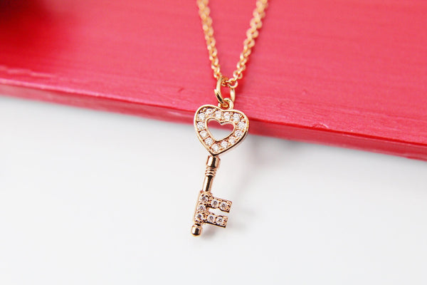Rose Gold Heart Key Necklace, Rose Gold Key Necklace, Rose Gold Heart Necklace, CZ Diamond Jewelry, Dainty Delicate Necklace, RG049