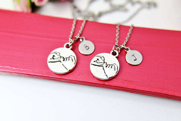 Best Friends Necklace, Silver Pinky Swear Charm Necklace, Couple Jewelry, Personalized Christmas Gift, N870