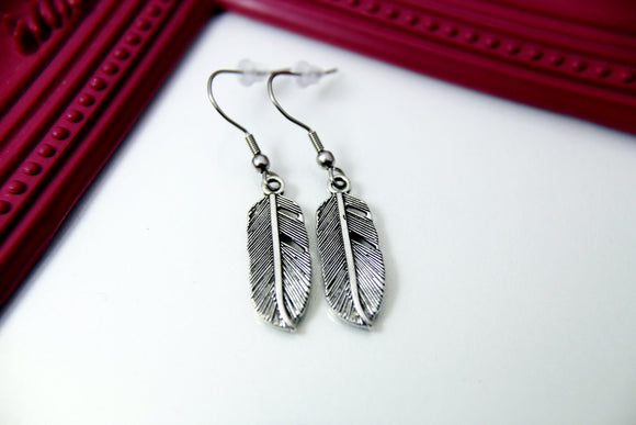 Silver Feather Charm Earrings, N1289