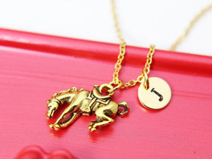 Bucking Bronco Necklace, Gold Bucking Bronco Charm, Horse Charm Necklace, Animal Charm, Cowboy Gift, Cowgirl Gift, Christmas Gift, N419