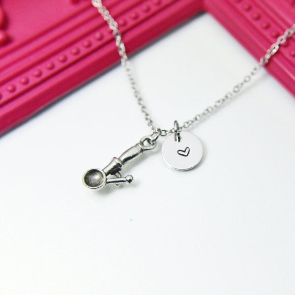 Silver Ice Cream Scoop Charm Necklace, Stainless Steel Chain Necklace, Personalized Jewelry, N506
