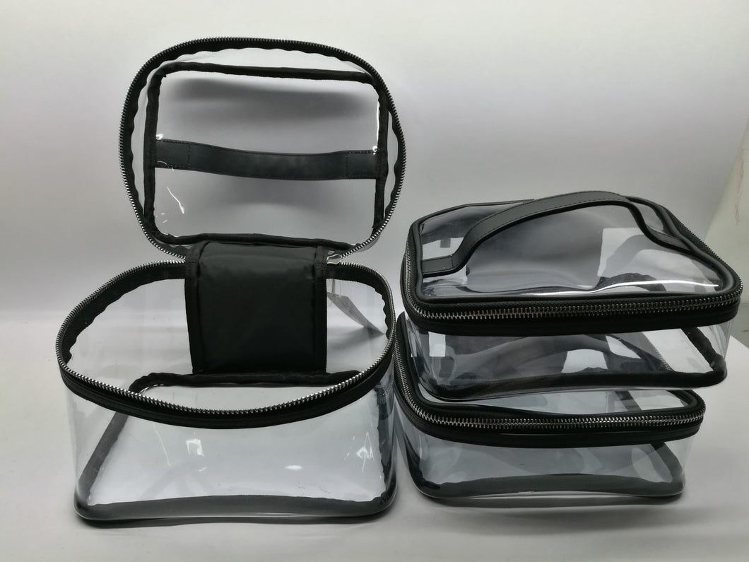 3x Clear PVC Makeup Cosmetic Bag