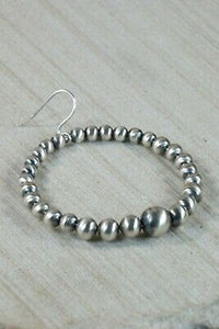 Navajo Sterling Silver Pearl Hoop Earrings - Jan Mariano - High Lonesome Trading
