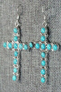 Turquoise and Sterling Silver Earrings - Roberta Begay
