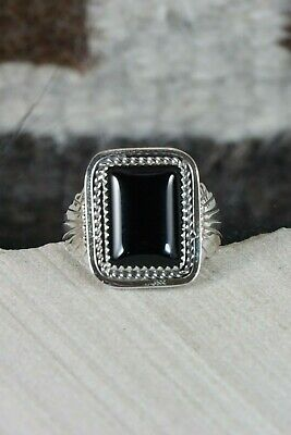 Navajo Onyx and Sterling Silver Ring - Jeanette Saunders - Size 14 - High Lonesome Trading