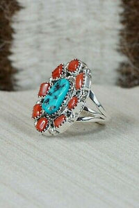 Navajo Turquoise, Coral & Sterling Silver Ring - Roberta Begay - Size 6.25