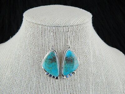 Navajo Turquoise & Sterling Silver Earrings - Genevieve Francisco - High Lonesome Trading