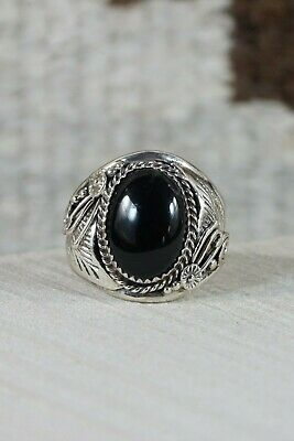 Navajo Onyx and Sterling Silver Ring - Leonard Spencer - Size 13.75 - High Lonesome Trading