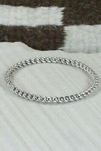 Navajo Sterling Silver Bangle Cuff - Elaine Tahe