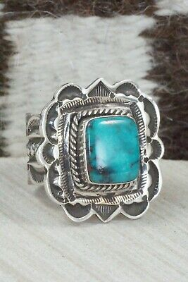 Turquoise and Sterling Silver Ring - Leonard Maloney - Size 12
