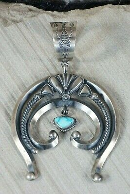 Navajo Turquoise and Sterling Silver Naja Pendant - Derrick Gordon - High Lonesome Trading