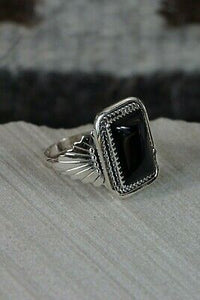 Navajo Onyx and Sterling Silver Ring - Jeanette Saunders - Size 13.75 - High Lonesome Trading