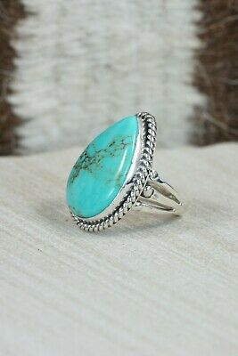 Navajo Turquoise and Sterling Silver Ring - Tom Dinetso - Size 4.25