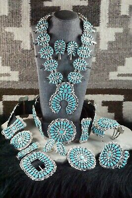 Turquoise & Sterling Silver Squash Blossom Set - Victor Begay