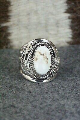 White Buffalo & Sterling Silver Ring - Leonard Spencer - Size 9.5