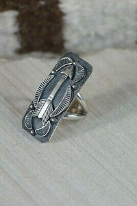 Navajo Sterling Silver Arrow Ring - Native American - Size 4.5 - High Lonesome Trading