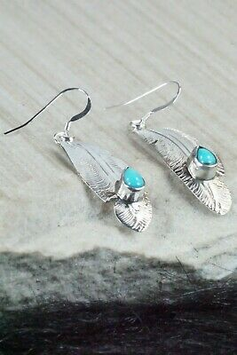 Turquoise & Sterling Silver Earrings - Genevieve Frank