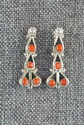 Coral & Sterling Silver Earrings - Alvina Lamy