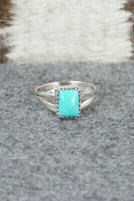 Turquoise and Sterling Silver Ring - Robert Martinez - Size 6.75
