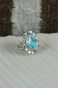 Navajo Turquoise and Sterling Silver Ring - Samuel Yellowhair - Size 6.5