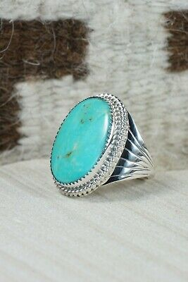 Navajo Turquoise and Sterling Silver Ring - Bobby Platero - 9.5