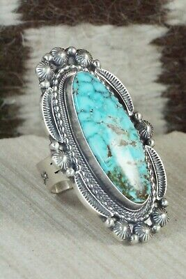 Turquoise & Sterling Silver Ring - Tom Lewis - Size 9.5
