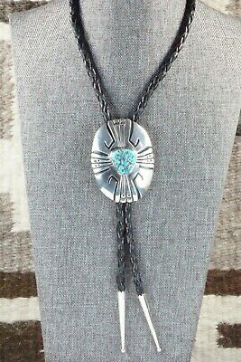 Turquoise & Sterling Silver Bolo Tie - Richard Singer - High Lonesome Trading